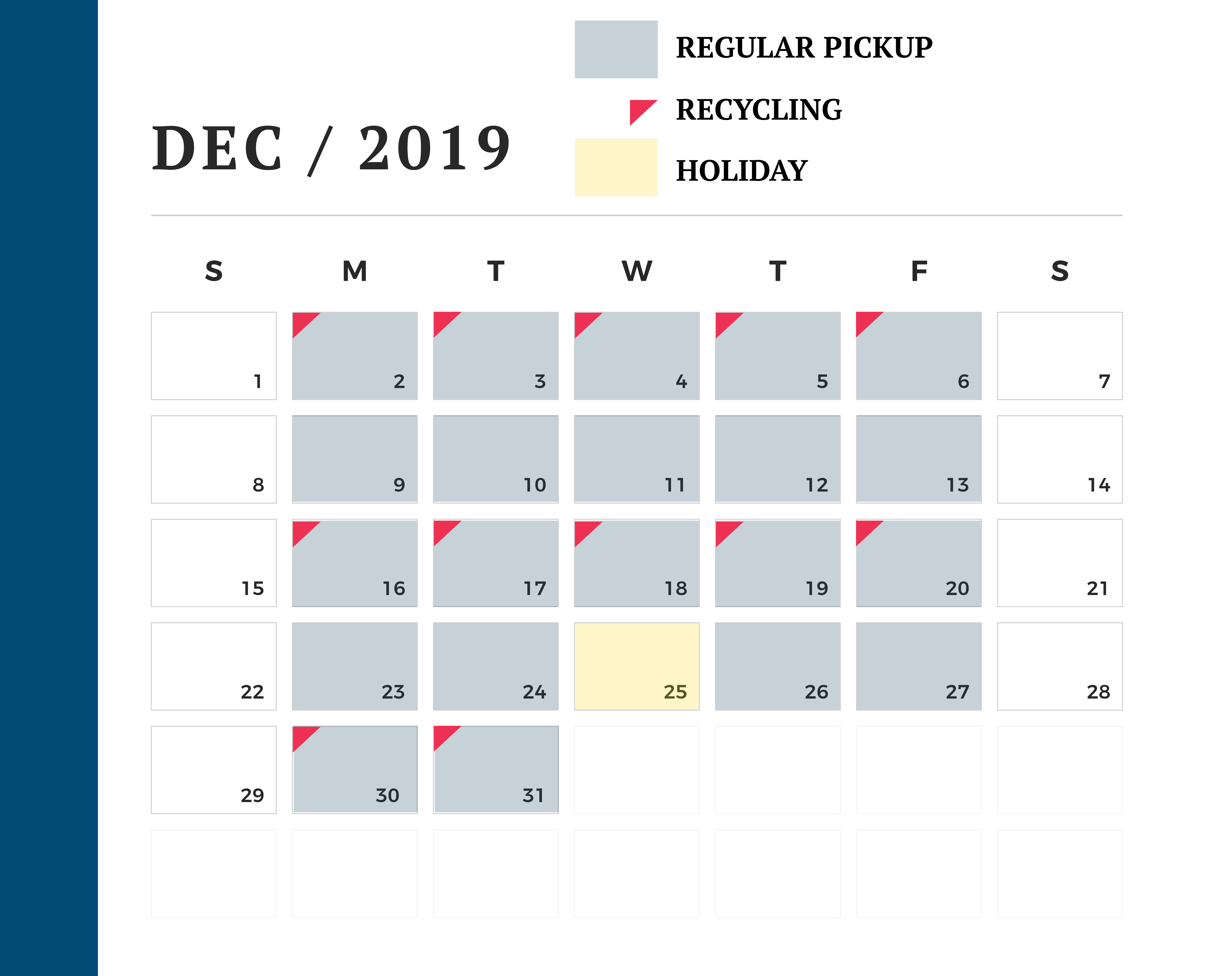 December waste pickup trash calendar
