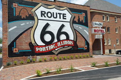 Route 66 Mural and Wishing Well
