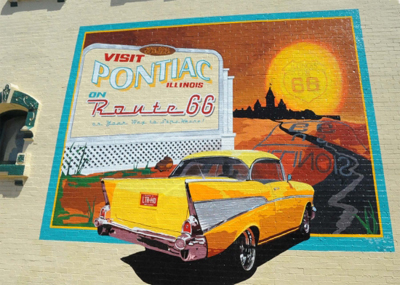 Pontiac on Route 66 Mural